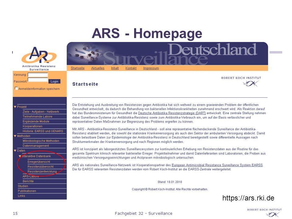 15Fachgebiet 32 - Surveillance ARS - Homepage https://ars.rki.de