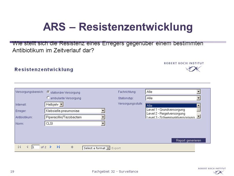 19Fachgebiet 32 - Surveillance ARS – Resistenzentwicklung Wie stellt sich die Resistenz eines Erregers gegenüber einem bestimmten Antibiotikum im Zeit