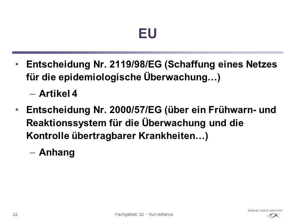 22Fachgebiet 32 - Surveillance EU Entscheidung Nr. 2119/98/EG (Schaffung eines Netzes für die epidemiologische Überwachung…) –Artikel 4 Entscheidung N
