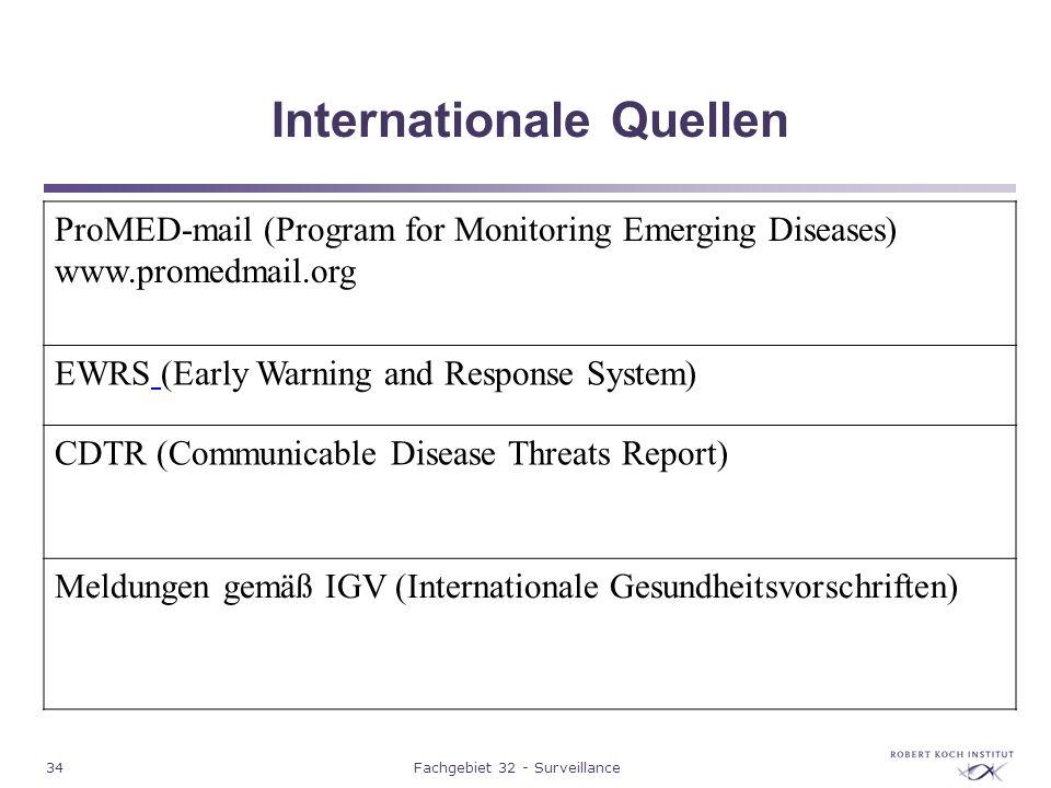 34Fachgebiet 32 - Surveillance Internationale Quellen ProMED-mail (Program for Monitoring Emerging Diseases) www.promedmail.org EWRS (Early Warning an