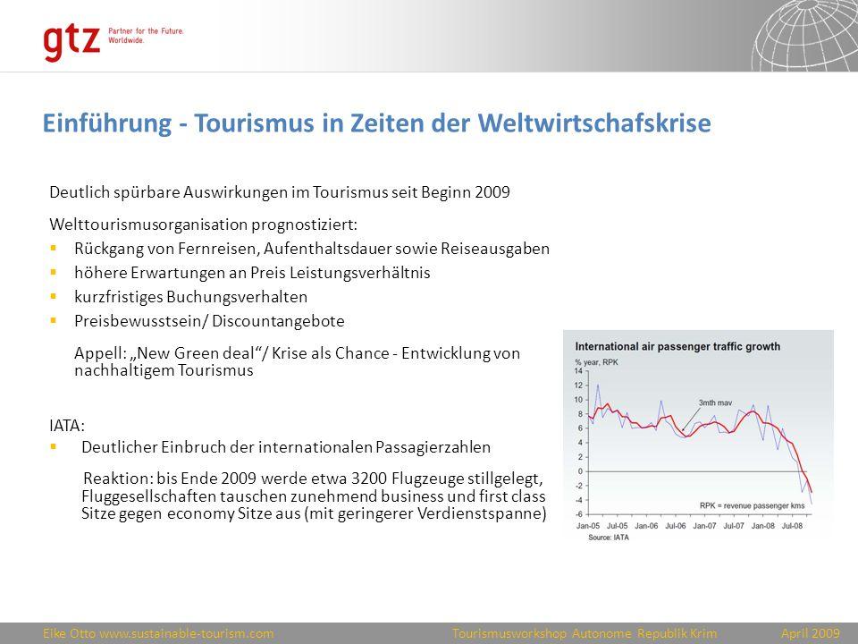 Eike Otto www.sustainable-tourism.comApril 2009 Tourismusworkshop Autonome Republik Krim Beispiele für Auswirkungen auf touristische Top-Destinationen Schweiz (Rang 1 Travel & Tourism Competitiveness Index of World Economic Forum): bis zu 20% weniger Touristen (insbes.