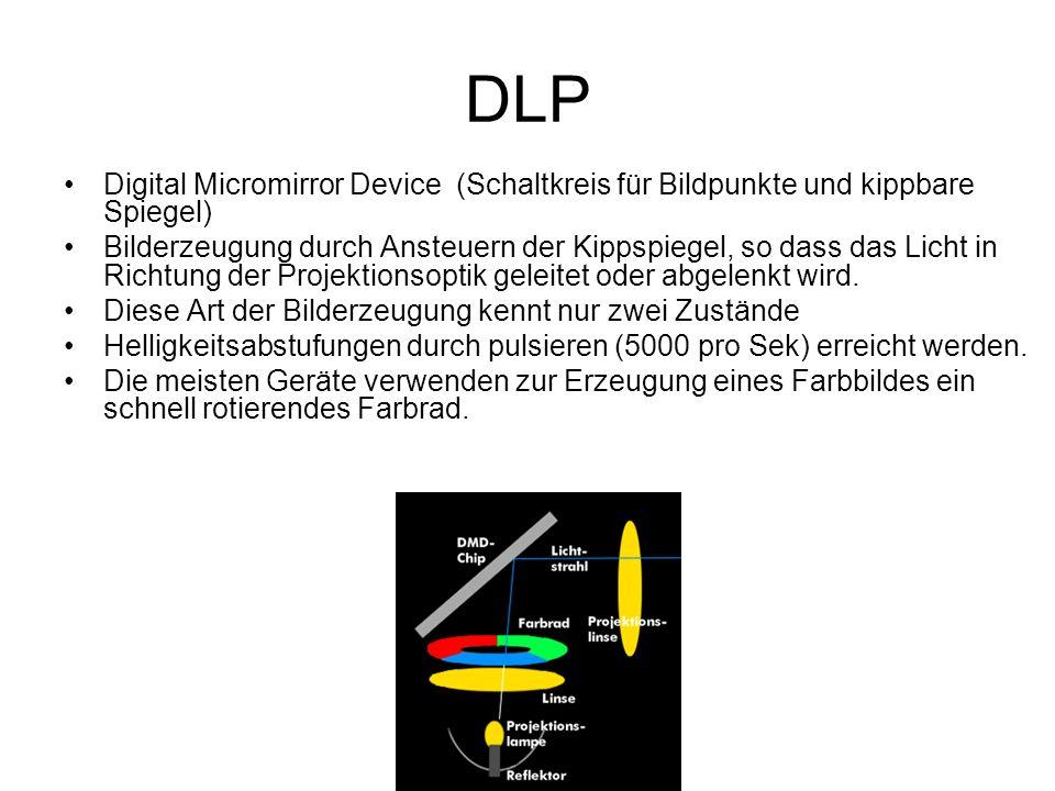 DLP Digital Micromirror Device (Schaltkreis für Bildpunkte und kippbare Spiegel) Bilderzeugung durch Ansteuern der Kippspiegel, so dass das Licht in R