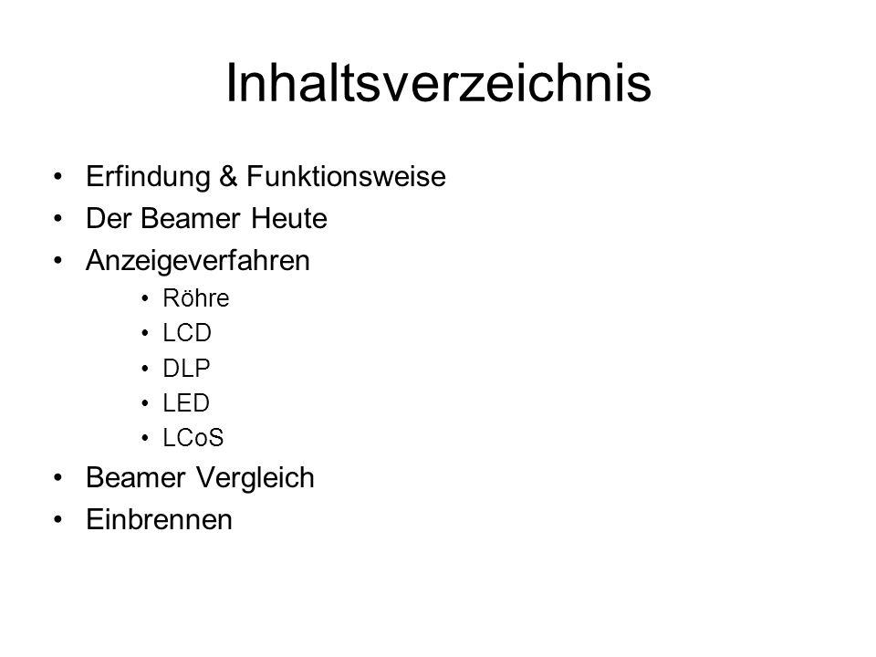 Inhaltsverzeichnis Erfindung & Funktionsweise Der Beamer Heute Anzeigeverfahren Röhre LCD DLP LED LCoS Beamer Vergleich Einbrennen