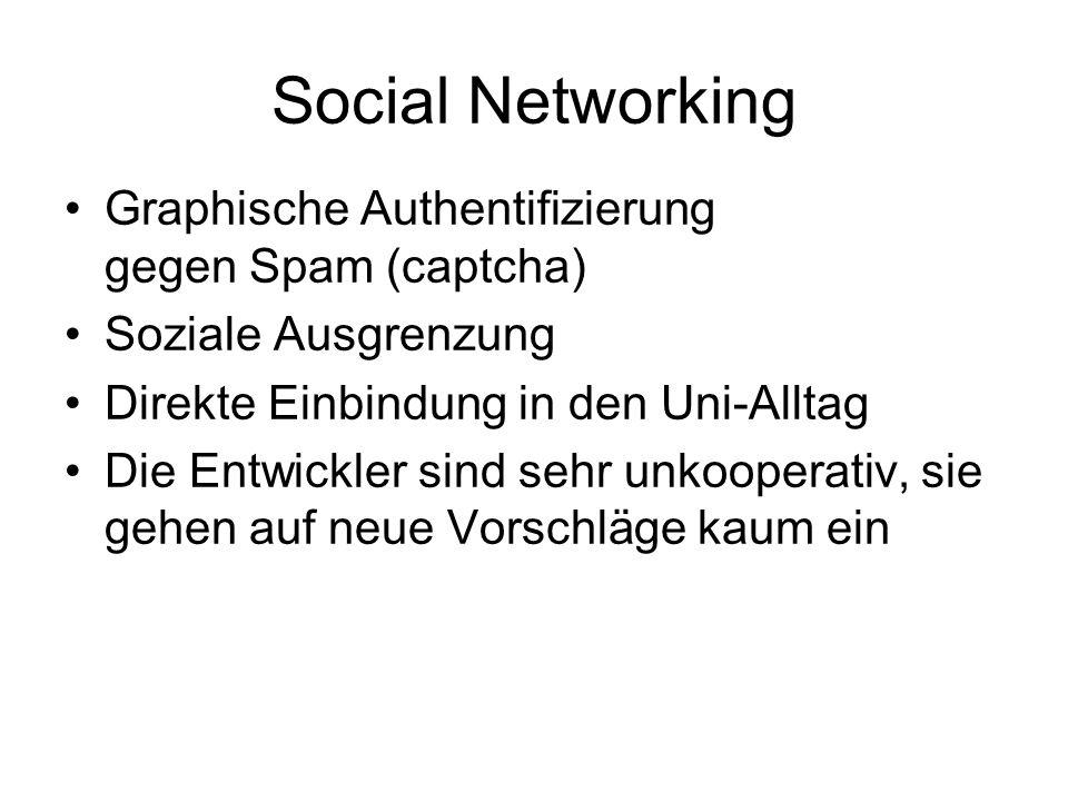 Social Networking Graphische Authentifizierung gegen Spam (captcha) Soziale Ausgrenzung Direkte Einbindung in den Uni-Alltag Die Entwickler sind sehr