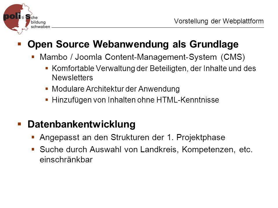 Vorstellung der Webplattform Open Source Webanwendung als Grundlage Mambo / Joomla Content-Management-System (CMS) Komfortable Verwaltung der Beteiligten, der Inhalte und des Newsletters Modulare Architektur der Anwendung Hinzufügen von Inhalten ohne HTML-Kenntnisse Datenbankentwicklung Angepasst an den Strukturen der 1.