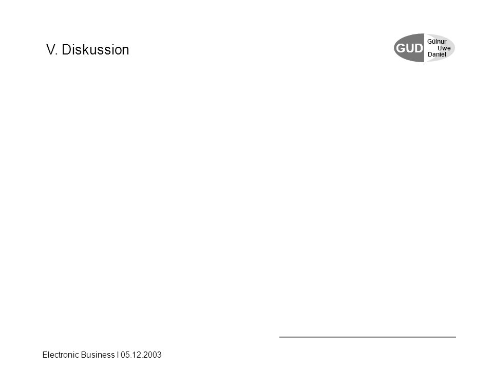 GUD Uwe Gülnur Daniel Electronic Business I 05.12.2003 V. Diskussion