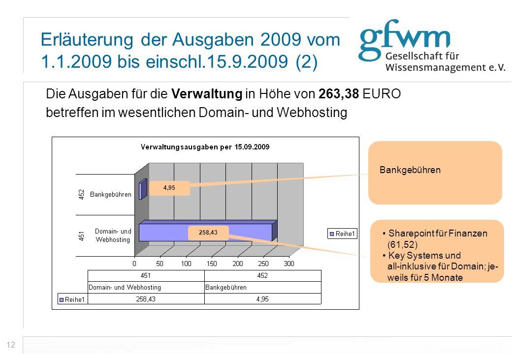 12 Erläuterung der Ausgaben 2009 vom 1.1.2009 bis einschl.15.9.2009 (2) Die Ausgaben für die Verwaltung in Höhe von 263,38 EURO betreffen im wesentlic