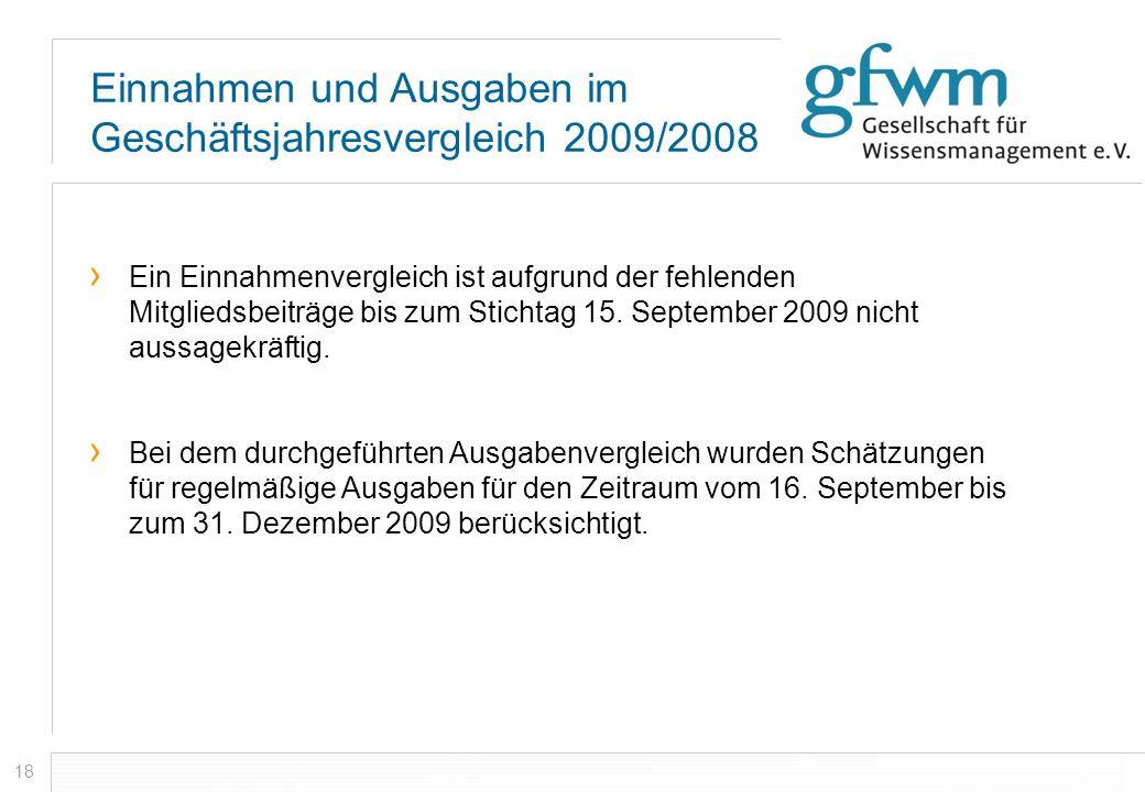 18 Ein Einnahmenvergleich ist aufgrund der fehlenden Mitgliedsbeiträge bis zum Stichtag 15. September 2009 nicht aussagekräftig. Bei dem durchgeführte