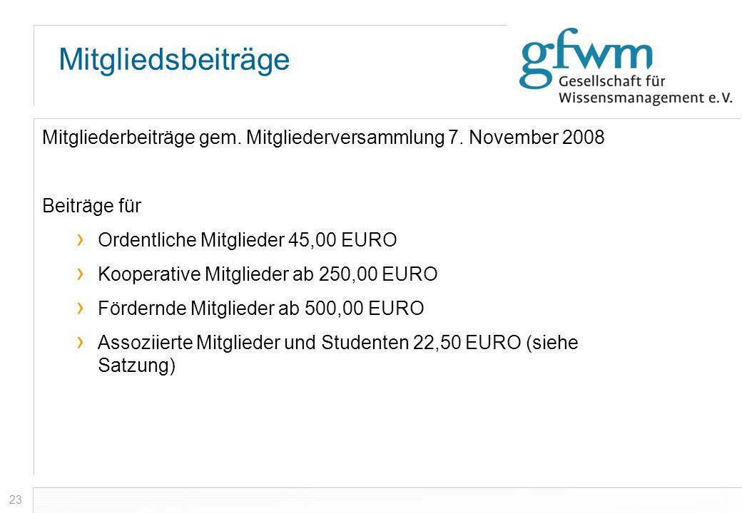 23 Mitgliedsbeiträge Mitgliederbeiträge gem. Mitgliederversammlung 7. November 2008 Beiträge für Ordentliche Mitglieder 45,00 EURO Kooperative Mitglie