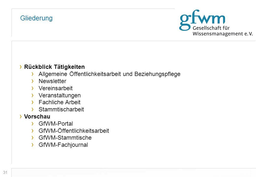 31 Gliederung Rückblick Tätigkeiten Allgemeine Öffentlichkeitsarbeit und Beziehungspflege Newsletter Vereinsarbeit Veranstaltungen Fachliche Arbeit St