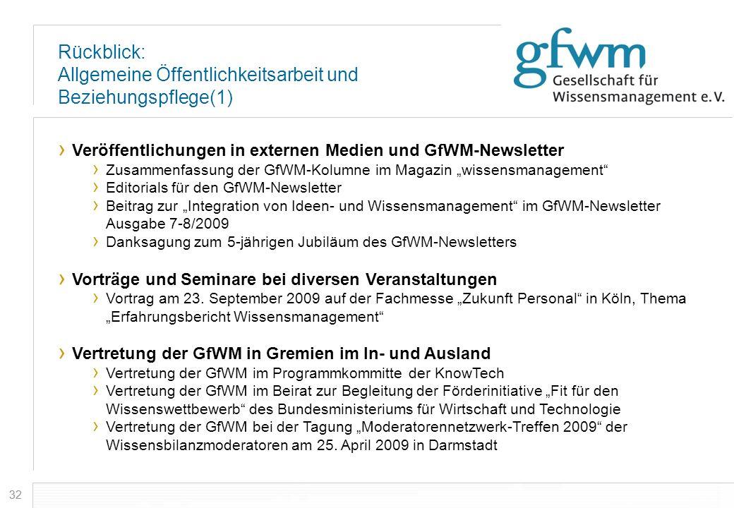 32 Rückblick: Allgemeine Öffentlichkeitsarbeit und Beziehungspflege(1) Veröffentlichungen in externen Medien und GfWM-Newsletter Zusammenfassung der G