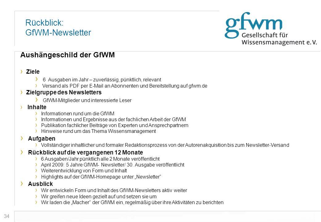 34 Rückblick: GfWM-Newsletter Aushängeschild der GfWM Ziele 6 Ausgaben im Jahr – zuverlässig, pünktlich, relevant Versand als PDF per E-Mail an Abonne