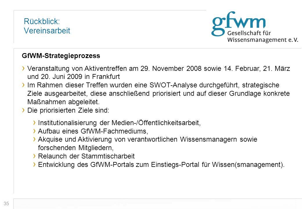 35 Rückblick: Vereinsarbeit GfWM-Strategieprozess Veranstaltung von Aktiventreffen am 29. November 2008 sowie 14. Februar, 21. März und 20. Juni 2009