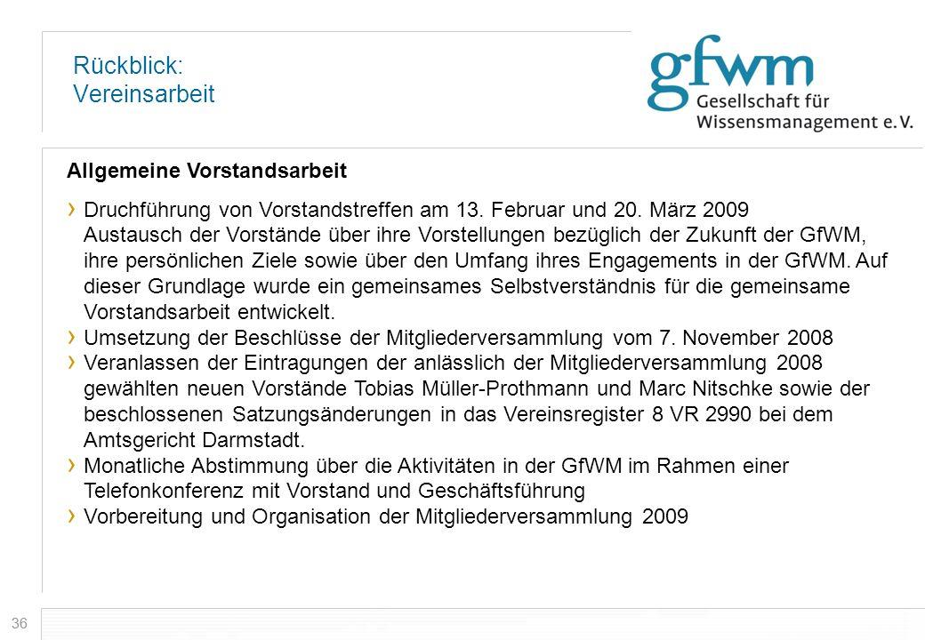 36 Rückblick: Vereinsarbeit Allgemeine Vorstandsarbeit Druchführung von Vorstandstreffen am 13. Februar und 20. März 2009 Austausch der Vorstände über