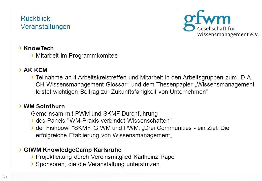 37 Rückblick: Veranstaltungen KnowTech Mitarbeit im Programmkomitee AK KEM Teilnahme an 4 Arbeitskreistreffen und Mitarbeit in den Arbeitsgruppen zum