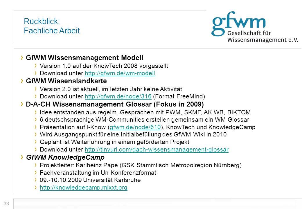 38 Rückblick: Fachliche Arbeit GfWM Wissensmanagement Modell Version 1.0 auf der KnowTech 2008 vorgestellt Download unter http://gfwm.de/wm-modellhttp