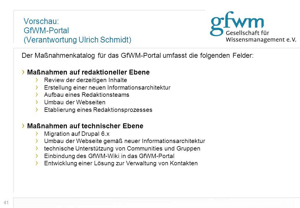 41 Vorschau: GfWM-Portal (Verantwortung Ulrich Schmidt) Der Maßnahmenkatalog für das GfWM-Portal umfasst die folgenden Felder: Maßnahmen auf redaktion