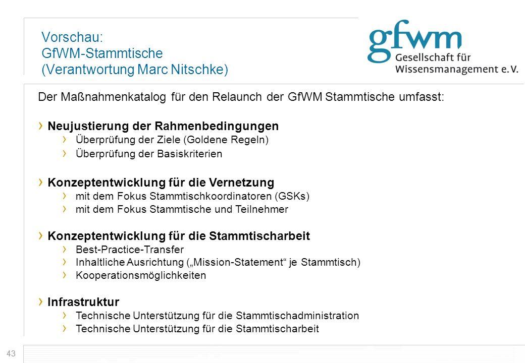 43 Vorschau: GfWM-Stammtische (Verantwortung Marc Nitschke) Der Maßnahmenkatalog für den Relaunch der GfWM Stammtische umfasst: Neujustierung der Rahm