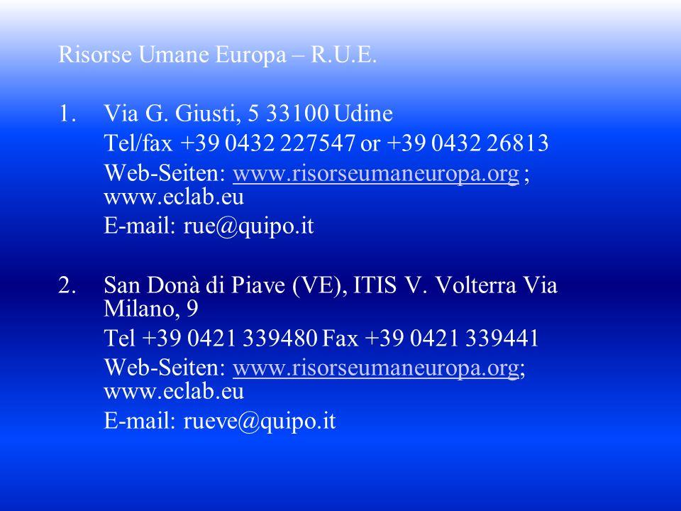 Risorse Umane Europa – R.U.E. 1.Via G. Giusti, 5 33100 Udine Tel/fax +39 0432 227547 or +39 0432 26813 Web-Seiten: www.risorseumaneuropa.org ; www.ecl