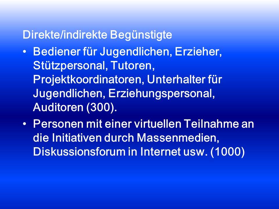 Direkte/indirekte Begünstigte Bediener für Jugendlichen, Erzieher, Stützpersonal, Tutoren, Projektkoordinatoren, Unterhalter für Jugendlichen, Erziehungspersonal, Auditoren (300).