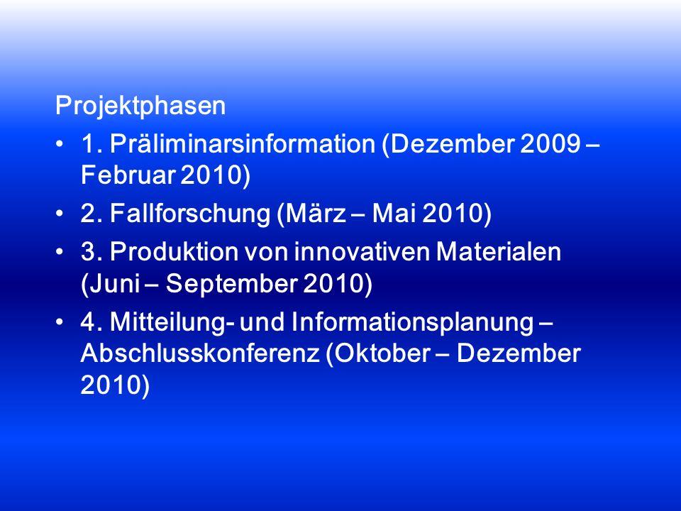 Projektphasen 1. Präliminarsinformation (Dezember 2009 – Februar 2010) 2. Fallforschung (März – Mai 2010) 3. Produktion von innovativen Materialen (Ju