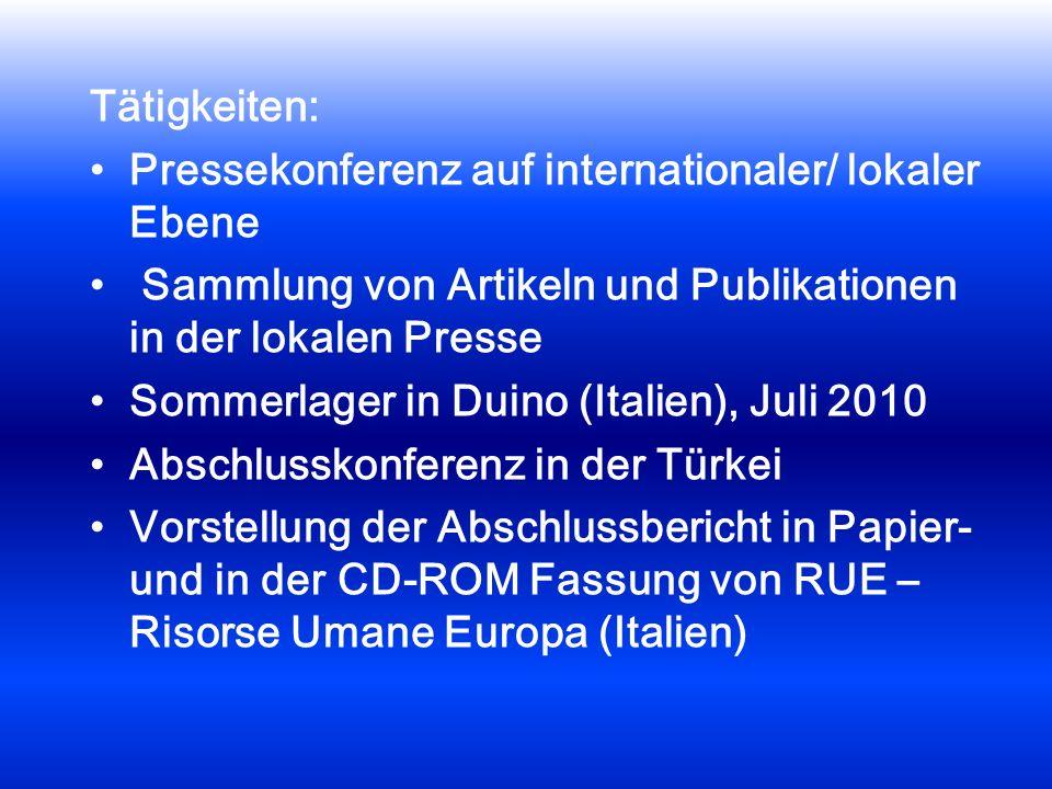 Tätigkeiten: Pressekonferenz auf internationaler/ lokaler Ebene Sammlung von Artikeln und Publikationen in der lokalen Presse Sommerlager in Duino (Italien), Juli 2010 Abschlusskonferenz in der Türkei Vorstellung der Abschlussbericht in Papier- und in der CD-ROM Fassung von RUE – Risorse Umane Europa (Italien)