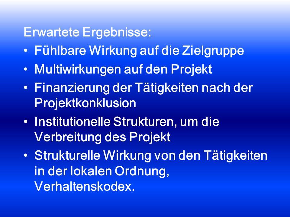 Erwartete Ergebnisse: Fühlbare Wirkung auf die Zielgruppe Multiwirkungen auf den Projekt Finanzierung der Tätigkeiten nach der Projektkonklusion Insti