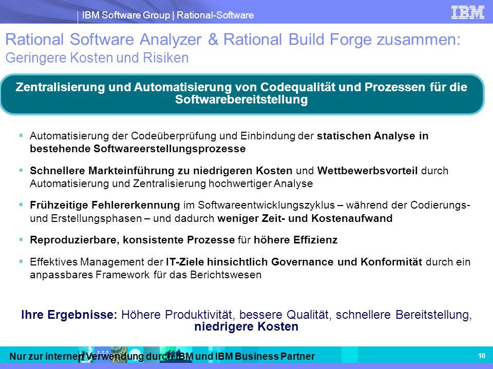 IBM Software Group | Rational-Software Nur zur internen Verwendung durch IBM und IBM Business Partner 10 Rational Software Analyzer & Rational Build F
