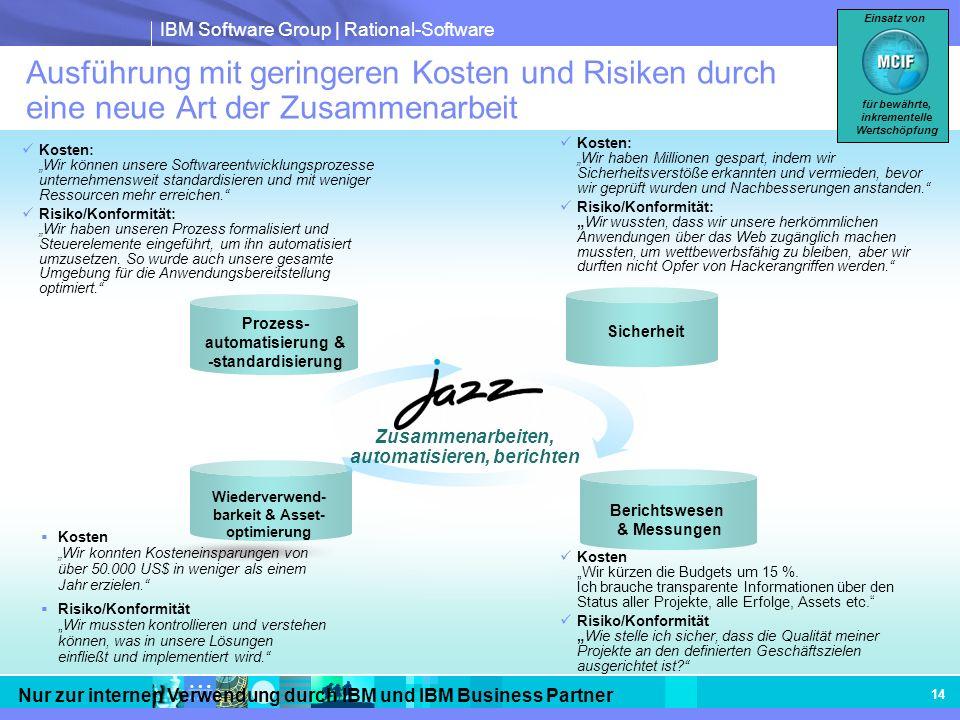 IBM Software Group | Rational-Software Nur zur internen Verwendung durch IBM und IBM Business Partner 14 Ausführung mit geringeren Kosten und Risiken