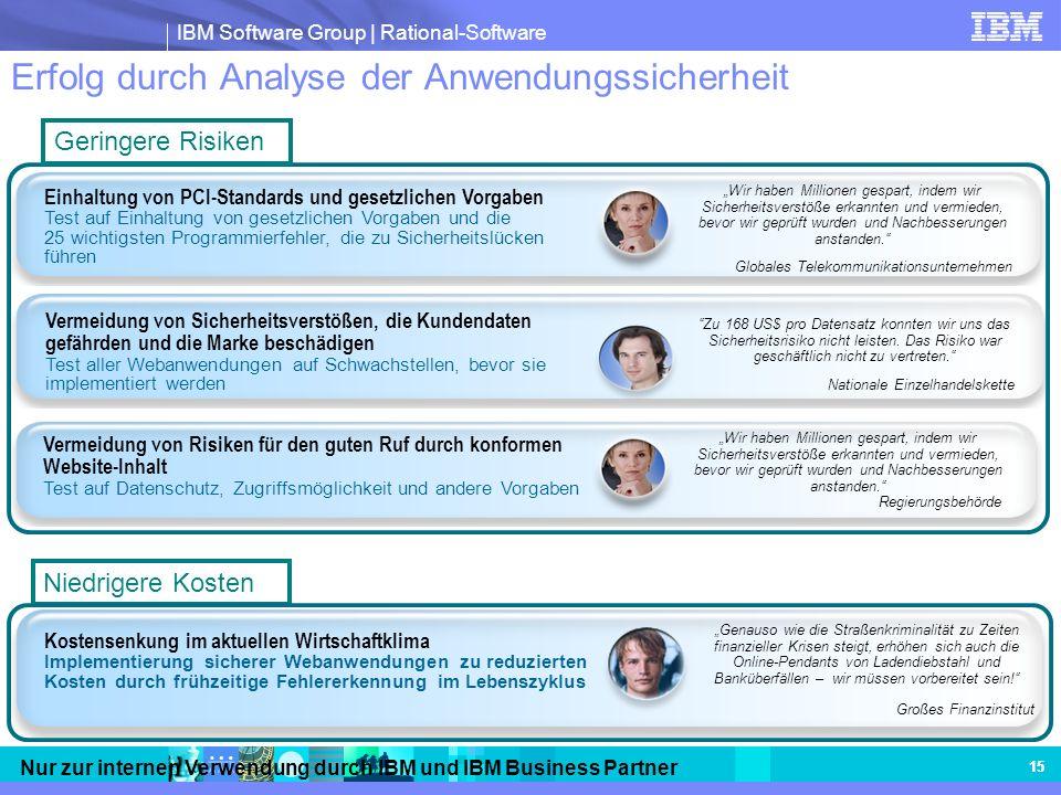 IBM Software Group | Rational-Software Nur zur internen Verwendung durch IBM und IBM Business Partner 15 Erfolg durch Analyse der Anwendungssicherheit