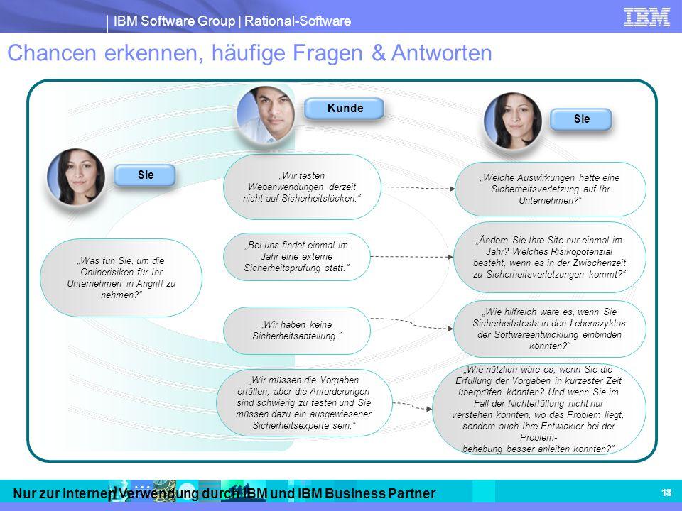 IBM Software Group | Rational-Software Nur zur internen Verwendung durch IBM und IBM Business Partner 18 Chancen erkennen, häufige Fragen & Antworten