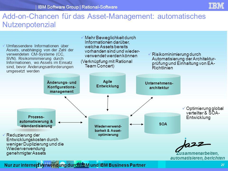 IBM Software Group | Rational-Software Nur zur internen Verwendung durch IBM und IBM Business Partner 27 Add-on-Chancen für das Asset-Management: auto