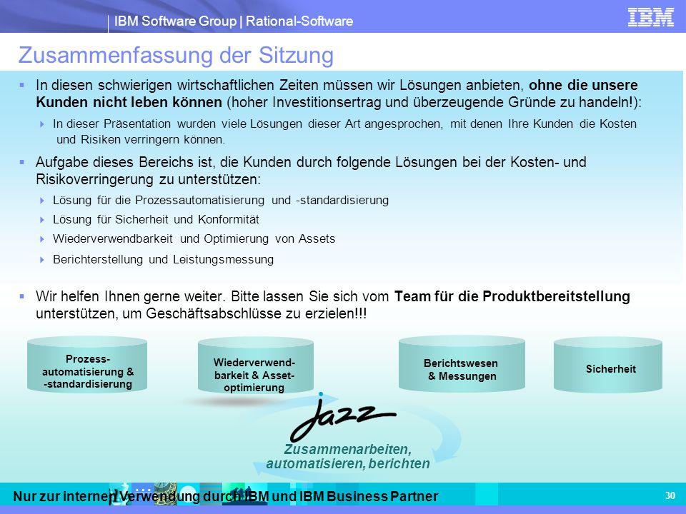 IBM Software Group | Rational-Software Nur zur internen Verwendung durch IBM und IBM Business Partner 30 Zusammenfassung der Sitzung In diesen schwier