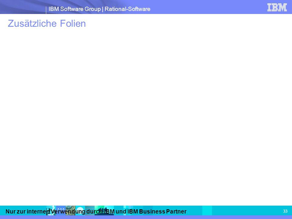 IBM Software Group | Rational-Software Nur zur internen Verwendung durch IBM und IBM Business Partner 33 Zusätzliche Folien