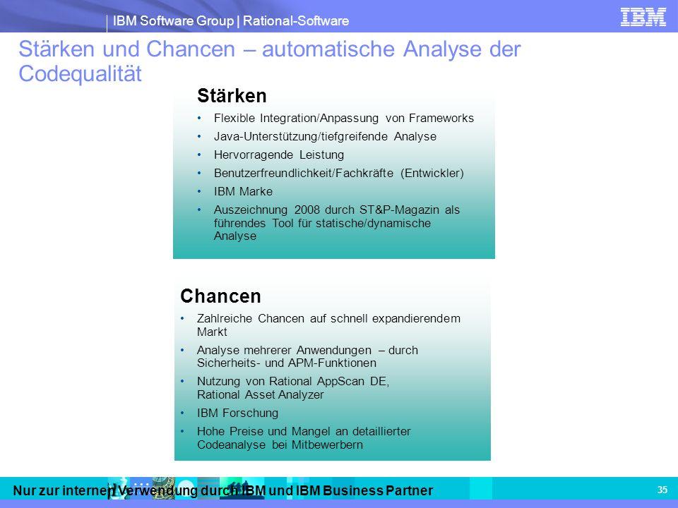 IBM Software Group | Rational-Software Nur zur internen Verwendung durch IBM und IBM Business Partner 35 Stärken und Chancen – automatische Analyse de