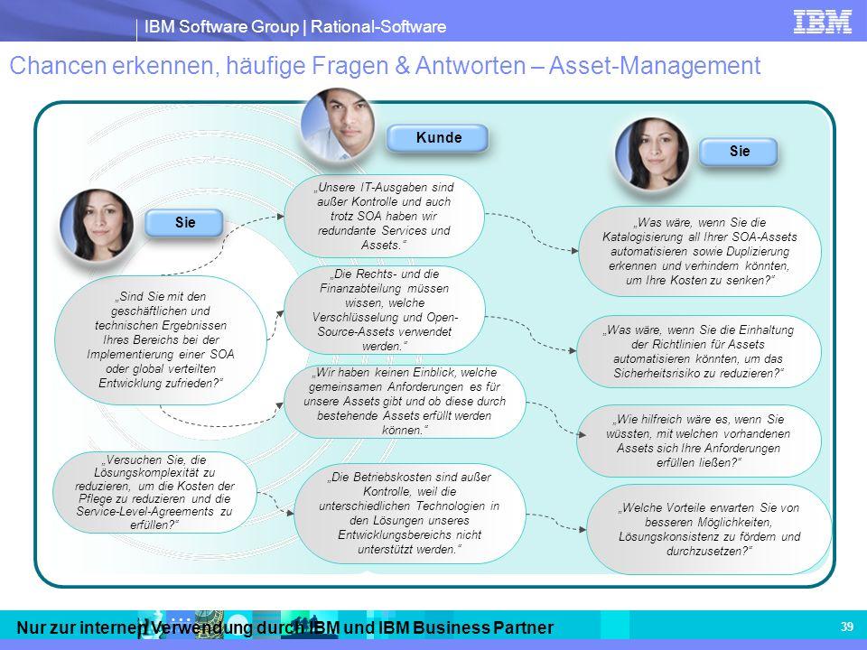 IBM Software Group | Rational-Software Nur zur internen Verwendung durch IBM und IBM Business Partner 39 Chancen erkennen, häufige Fragen & Antworten