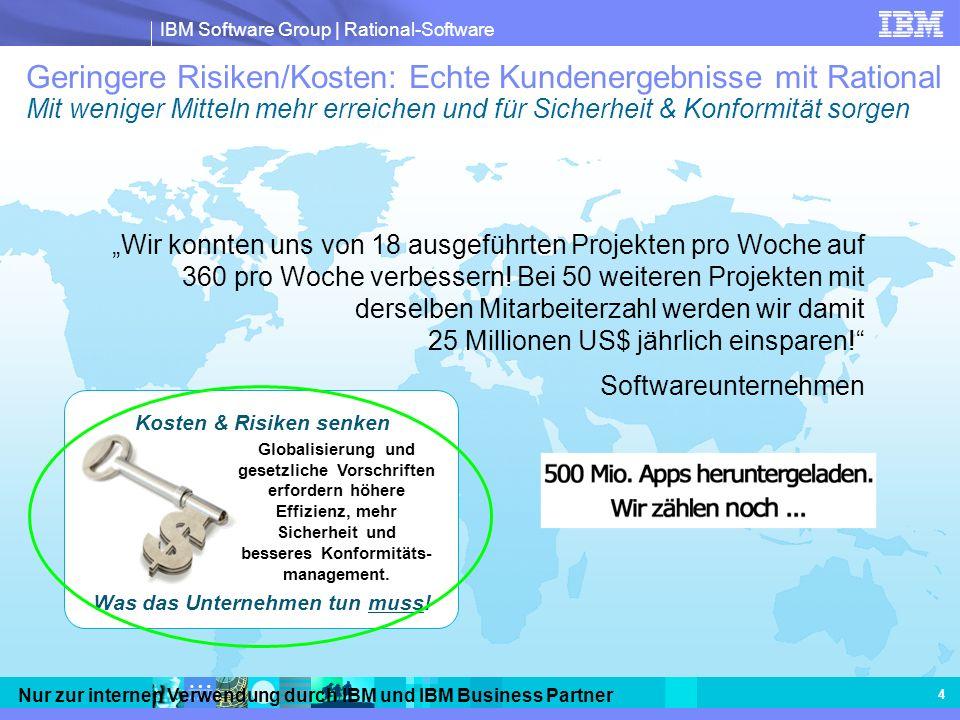 IBM Software Group | Rational-Software Nur zur internen Verwendung durch IBM und IBM Business Partner 4 Geringere Risiken/Kosten: Echte Kundenergebnis