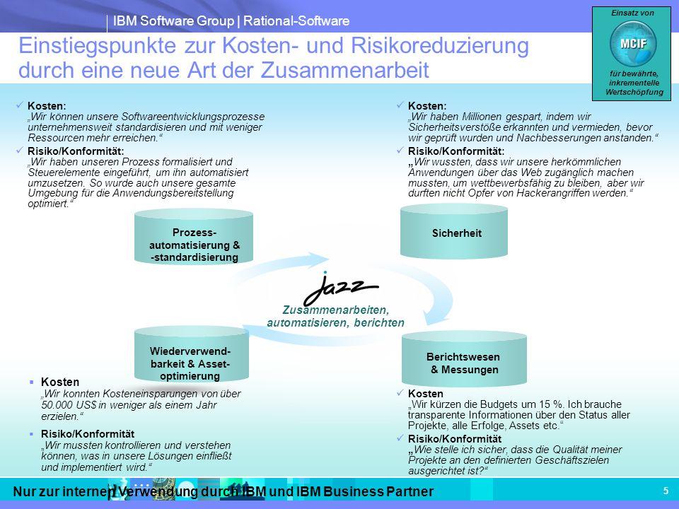 IBM Software Group | Rational-Software Nur zur internen Verwendung durch IBM und IBM Business Partner 5 Einstiegspunkte zur Kosten- und Risikoreduzier