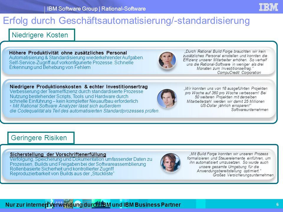IBM Software Group | Rational-Software Nur zur internen Verwendung durch IBM und IBM Business Partner 6 Erfolg durch Geschäftsautomatisierung/-standar