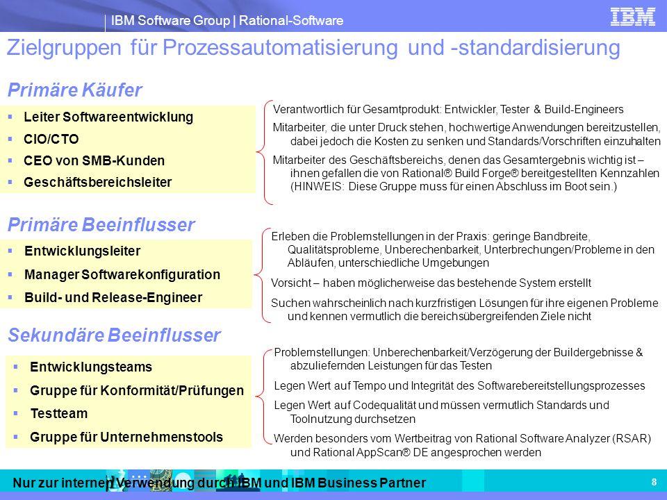 IBM Software Group | Rational-Software Nur zur internen Verwendung durch IBM und IBM Business Partner 8 Zielgruppen für Prozessautomatisierung und -st