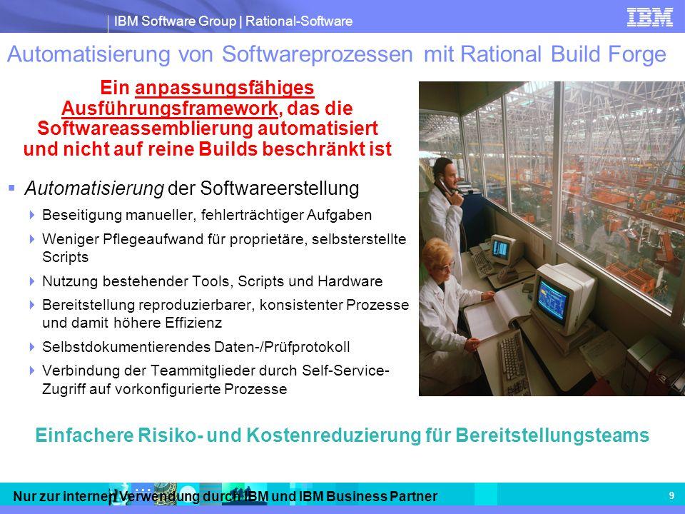 IBM Software Group | Rational-Software Nur zur internen Verwendung durch IBM und IBM Business Partner 9 Automatisierung von Softwareprozessen mit Rati