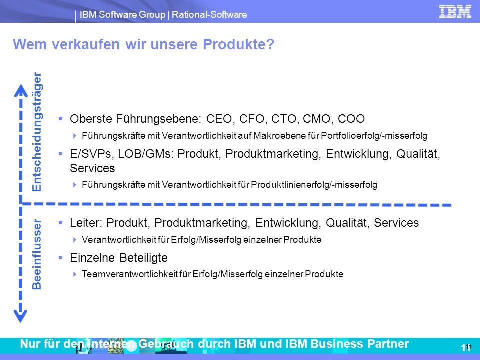 IBM Software Group | Rational-Software 11 Nur für den internen Gebrauch durch IBM und IBM Business Partner Wem verkaufen wir unsere Produkte? Oberste