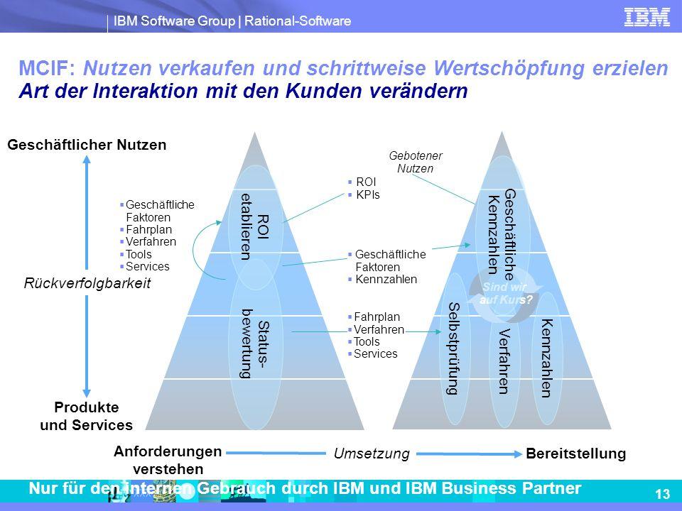 IBM Software Group | Rational-Software 13 Nur für den internen Gebrauch durch IBM und IBM Business Partner MCIF: Nutzen verkaufen und schrittweise Wer