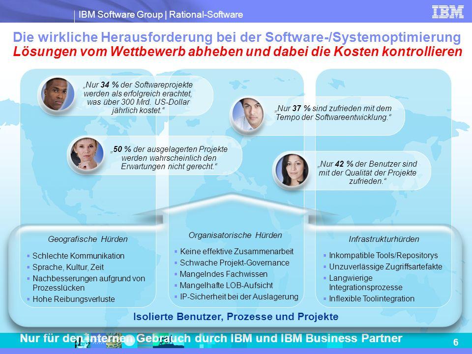 IBM Software Group | Rational-Software 17 Nur für den internen Gebrauch durch IBM und IBM Business Partner Rechtliche Hinweise © Copyright IBM Corporation 2009 IBM Deutschland GmbH IBM-Allee 1 71139 Ehningen ibm.com/de IBM Österreich Obere Donaustrasse 95 1020 Wien ibm.com/at IBM Schweiz Vulkanstrasse 106 8010 Zürich ibm.com/ch Hergestellt in den USA April 2009 Alle Rechte vorbehalten IBM, das IBM Logo, ibm.com und Rational sind Marken oder eingetragene Marken der IBM Corporation in den USA und/oder anderen Ländern.