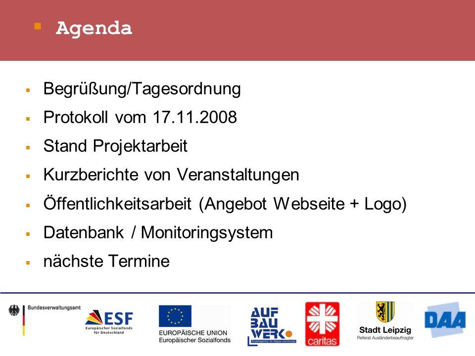 Agenda Begrüßung/Tagesordnung Protokoll vom 17.11.2008 Stand Projektarbeit Kurzberichte von Veranstaltungen Öffentlichkeitsarbeit (Angebot Webseite + Logo) Datenbank / Monitoringsystem nächste Termine