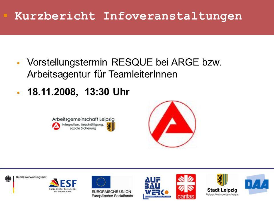Kurzbericht Infoveranstaltungen Vorstellungstermin RESQUE bei ARGE bzw.
