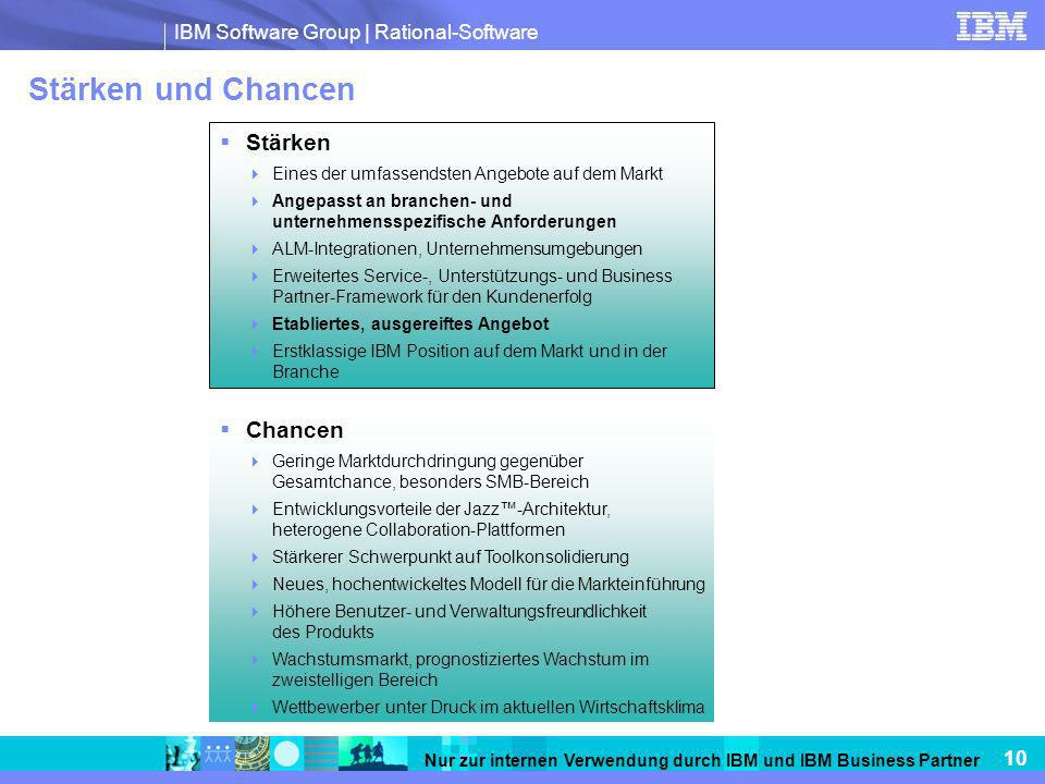 IBM Software Group   Rational-Software 10 Nur zur internen Verwendung durch IBM und IBM Business Partner Stärken und Chancen Stärken Eines der umfasse