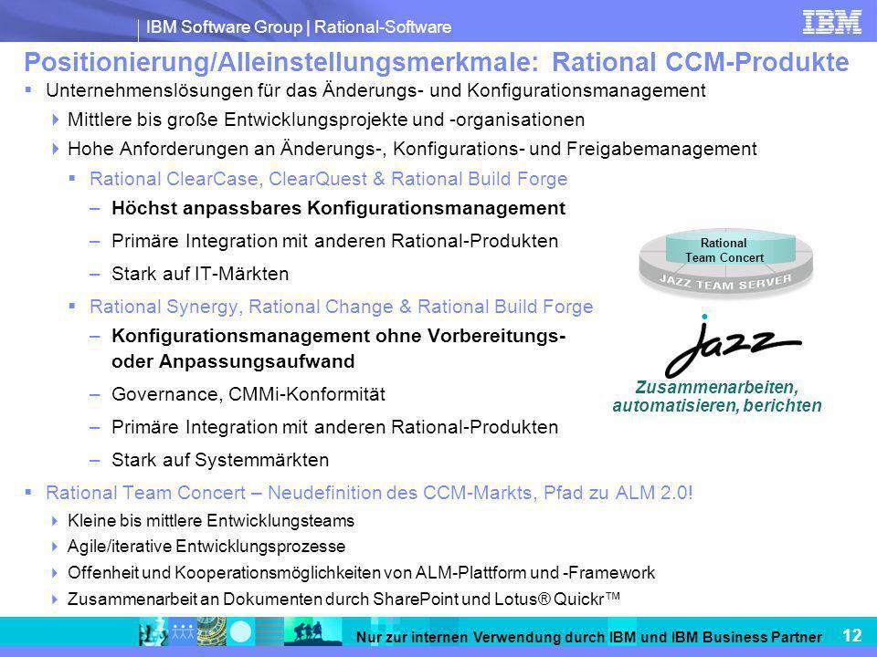 IBM Software Group   Rational-Software 12 Nur zur internen Verwendung durch IBM und IBM Business Partner Unternehmenslösungen für das Änderungs- und K