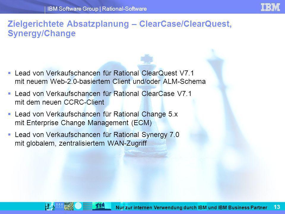 IBM Software Group   Rational-Software 13 Nur zur internen Verwendung durch IBM und IBM Business Partner Zielgerichtete Absatzplanung – ClearCase/Clea