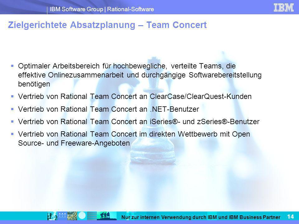 IBM Software Group   Rational-Software 14 Nur zur internen Verwendung durch IBM und IBM Business Partner Zielgerichtete Absatzplanung – Team Concert O